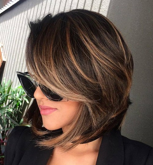 1 layered brunette balayage bob