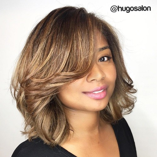 1 long bob hairstyle for round face
