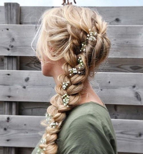 1 loose curly braid with rose buds for prom