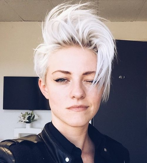 1 short disheveled platinum blonde hairstyle