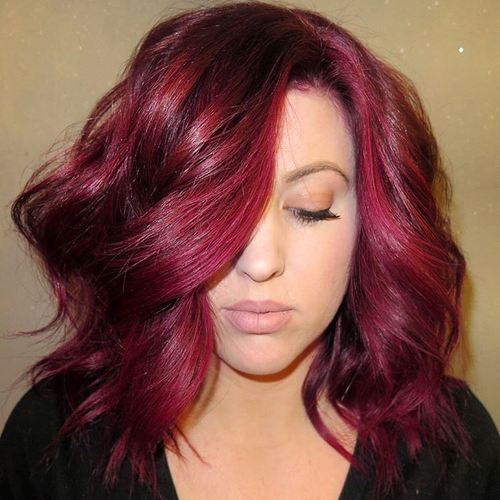 10 wavy burgundy lob for thick hair