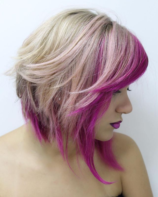 11 blonde angled lob with pink highlights