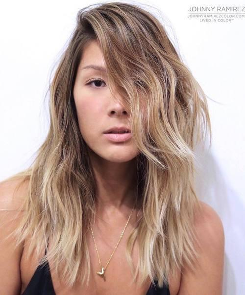 11 medium layered blonde balayage hairstyle