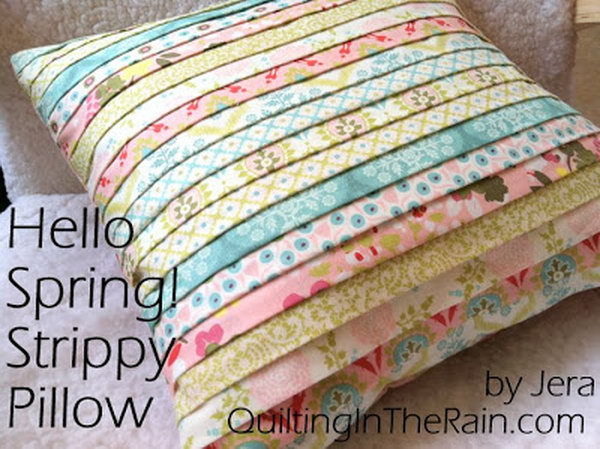 12 Strippy Pillow Made With Stripes Of Different Fabric