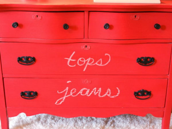 13 Create a Red Chalkboard Dresser