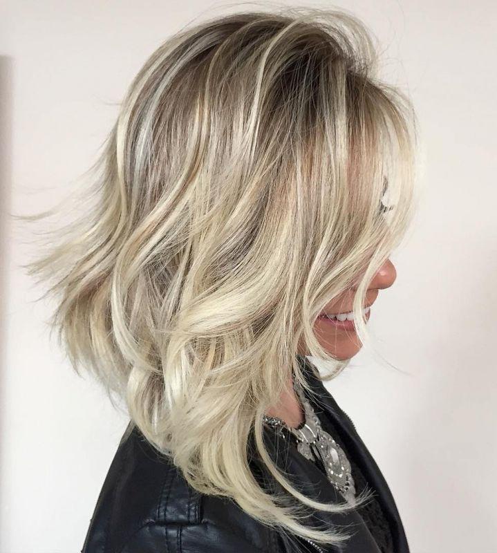 13 angled tousled blonde lob