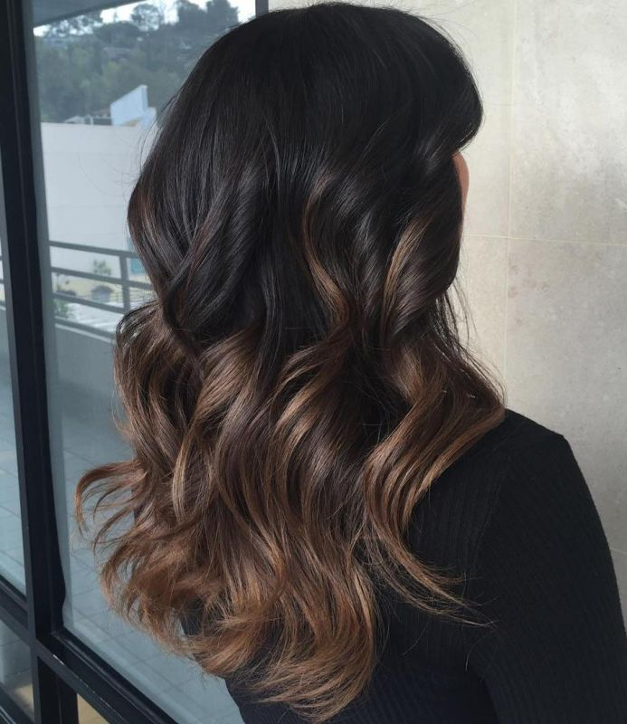 13 black to brown ombre balayage