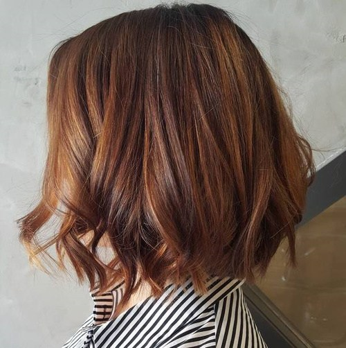 13 brown bob with copper balayage