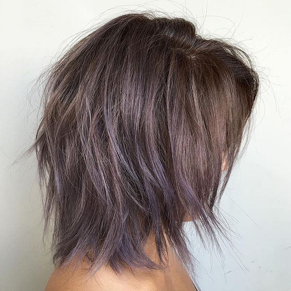 14 brown layered bob with purple balayage
