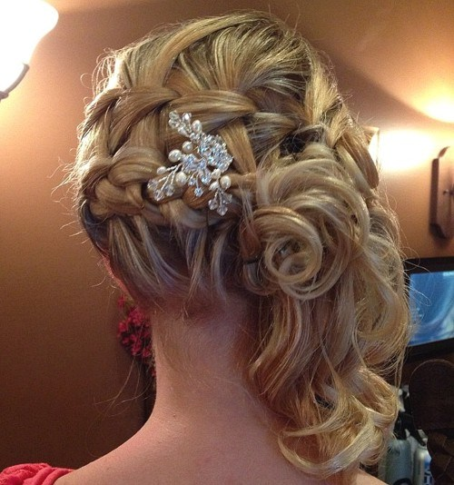 15 braided curly side updo