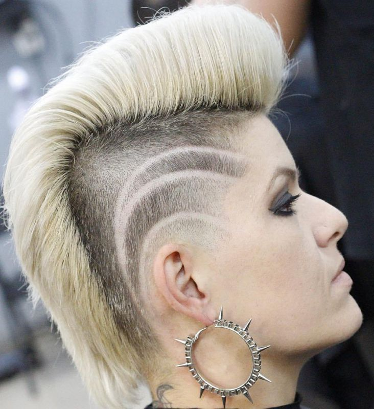 15 punk blonde mohawk with undershaves