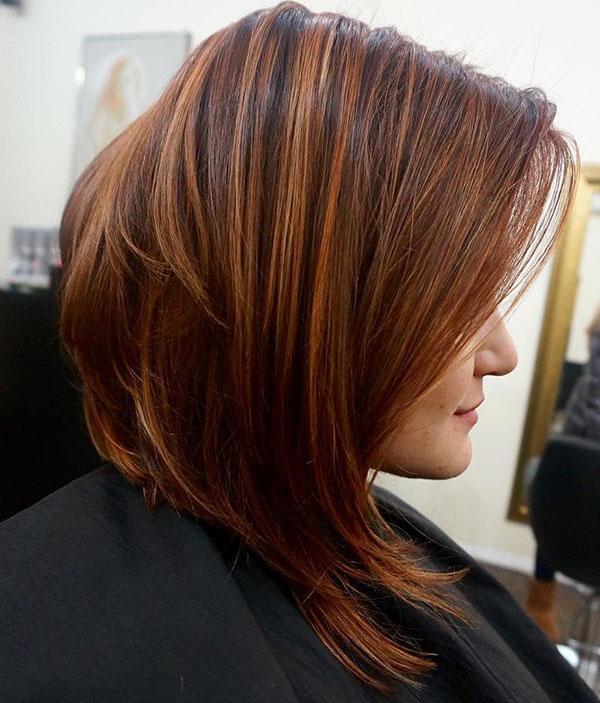 15 reddish brown angled bob