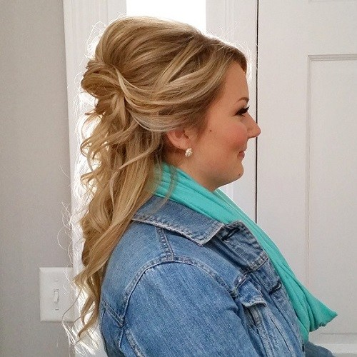17 half updo with a bouffant for round faces