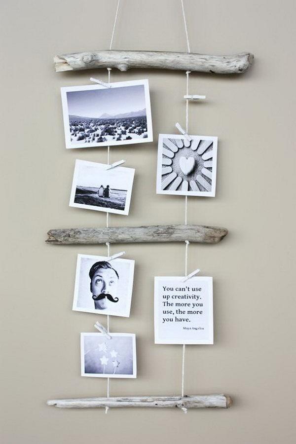 18 DIY Driftwood Photo Display