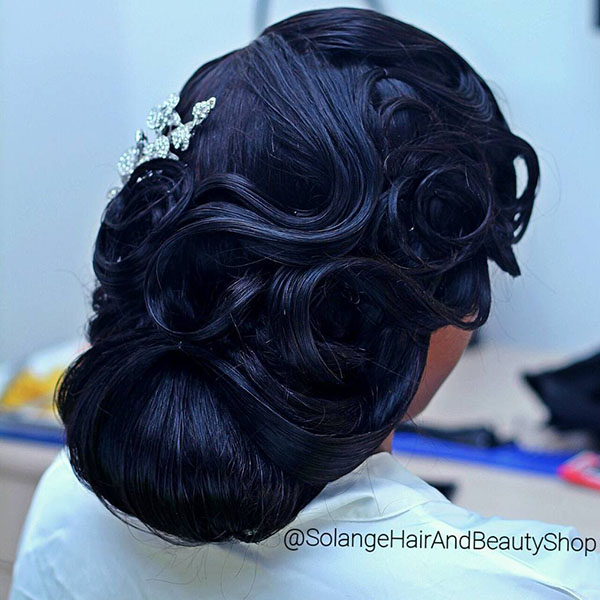 19 black wedding vintage updo