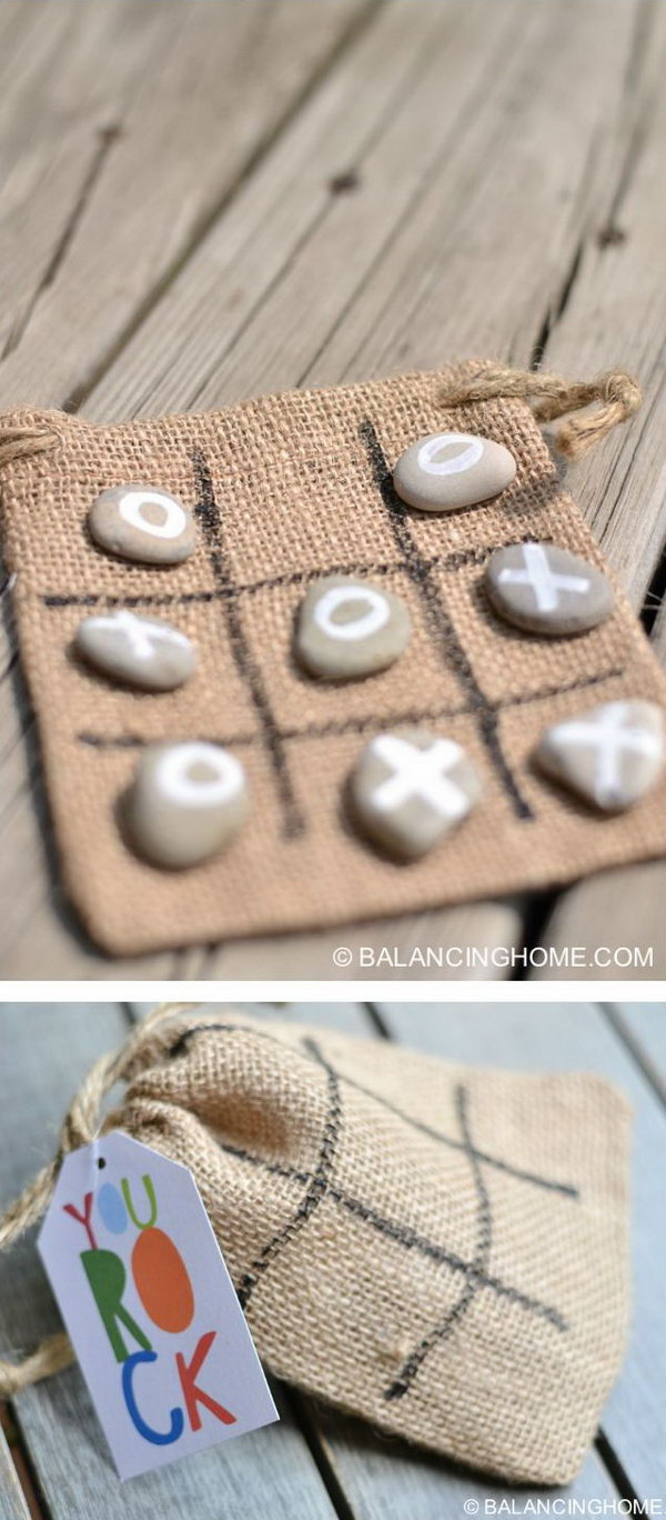 2 DIY Tic Tac Toe Rocks Bag Gift For On The Go
