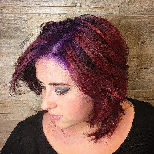 2 medium layered burgundy hairstyle for chubby faces
