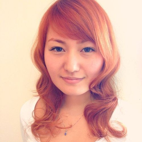 21 loose copper curls with side bangs