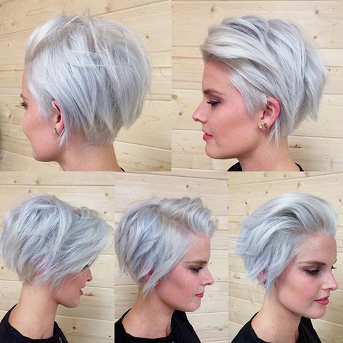 21 short silver grey blonde choppy bob