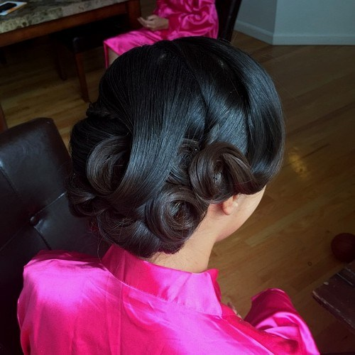 22 low curls wedding updo for black hair