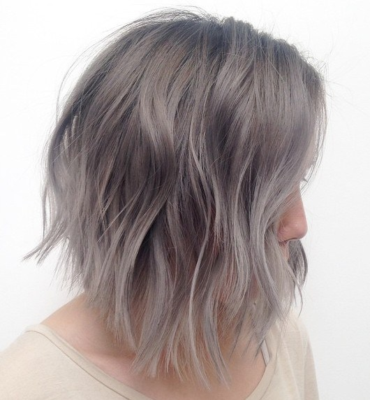 22 silver blonde layered lob