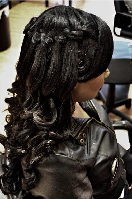 23 black wedding half up hairstyle