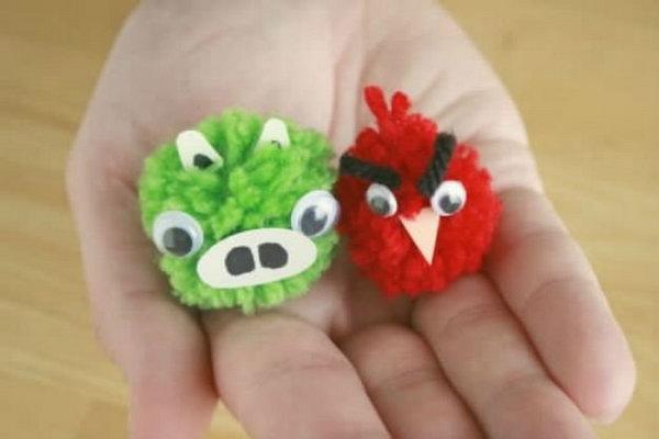 24 Cute Angry Bird Pom-Poms