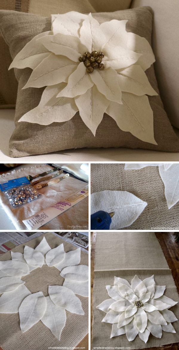 24 DIY Pottery Barn Inspired Felt Flowers Pillow