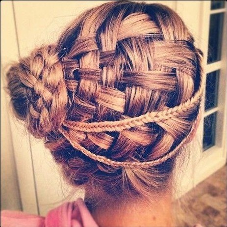 26 Braided Updo Hairstyles for Prom Basket weave updos