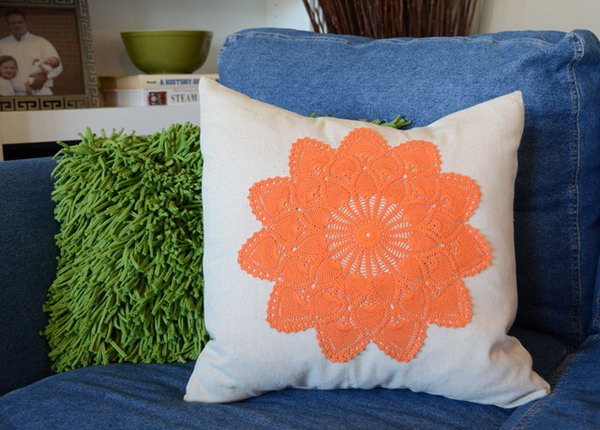 26 Dyed Doily Pillows