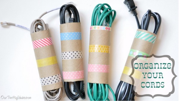 27 Organize Your Cords with Toilet Paper Roll