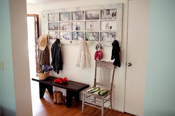 27 Repurpose an Old Door into a Picture Frame Coat Rack