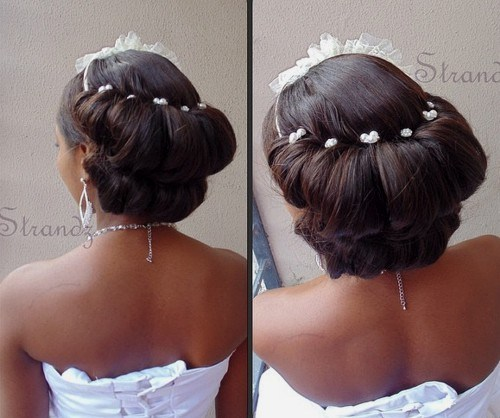 27 back double roll wedding updo for black women