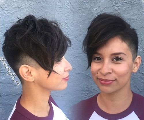 3 extra short pixie with long angled bangs