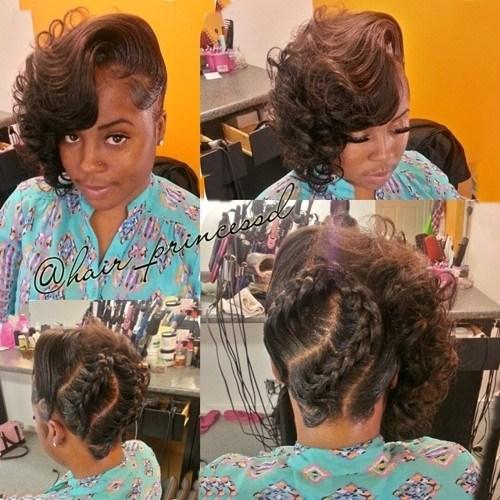 30 asymmetrical braided updo for African American women
