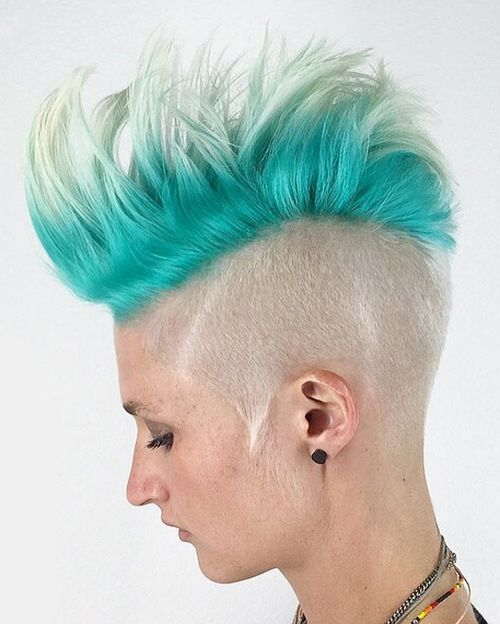 30 womens platinum and turquoise Mohawk