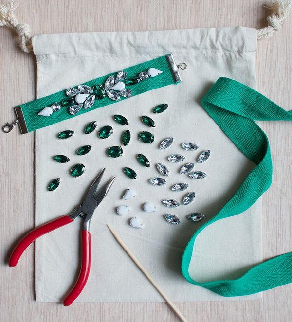 31 DIY Jeweled Ribbon Bracelets