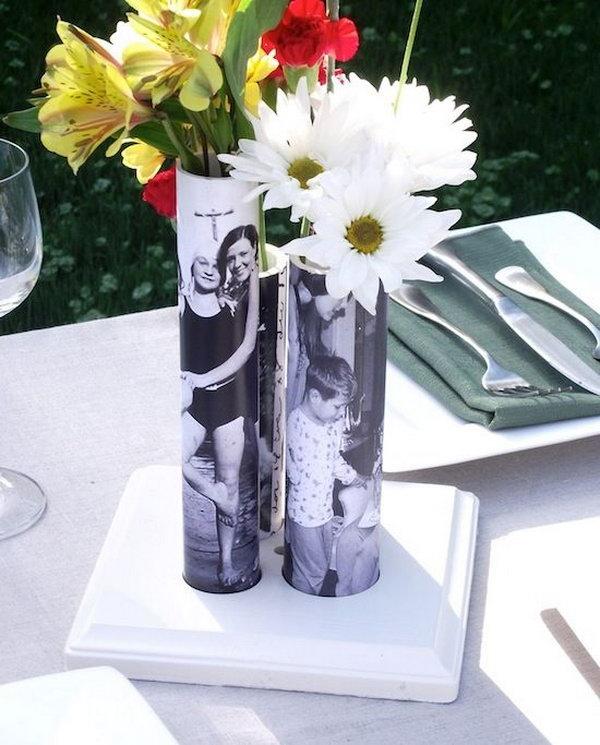 31 DIY Photo Vase From PVC Pipe