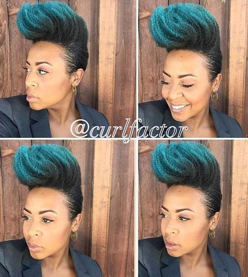 31 natural Mohawk updo with blue dip dye