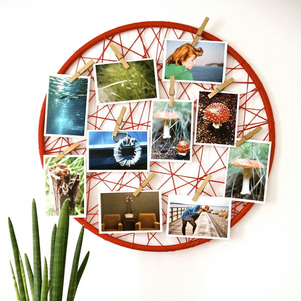 32 Photo Display with Rope and Clothespins