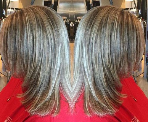 32 medium layered haircut with highlights