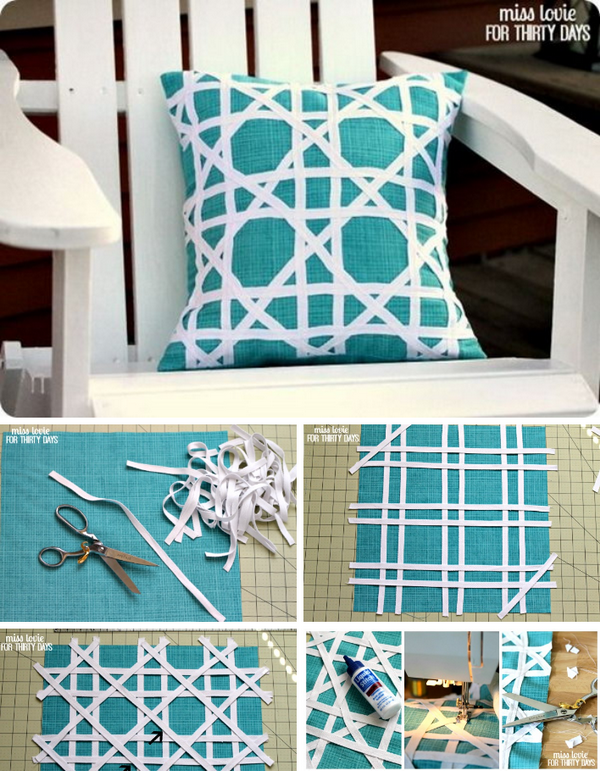 33 DIY Cane Pattern Outdoor Pillow