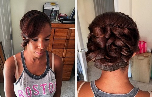 35 African American wedding updo with bangs