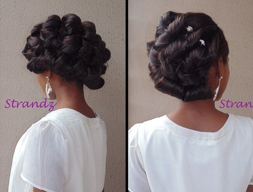 36 black bridal twisted updo