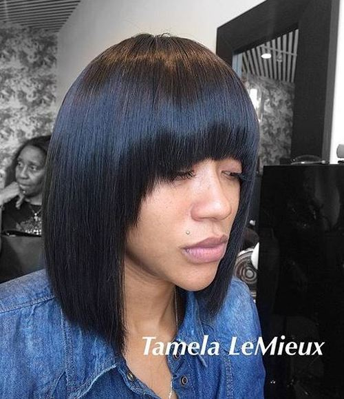 36 collarbone straight bob with arched bangs