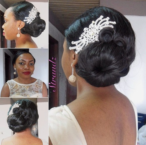 40 black side bun wedding hairstyle