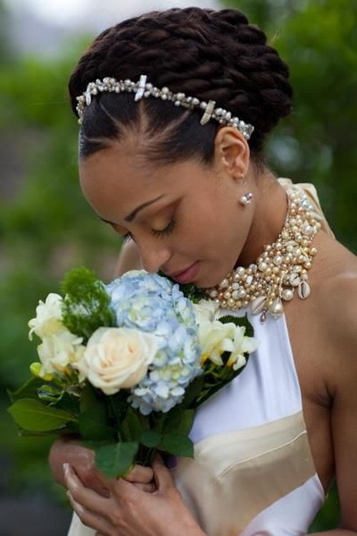 41 black wedding hairstyle with rows of twists