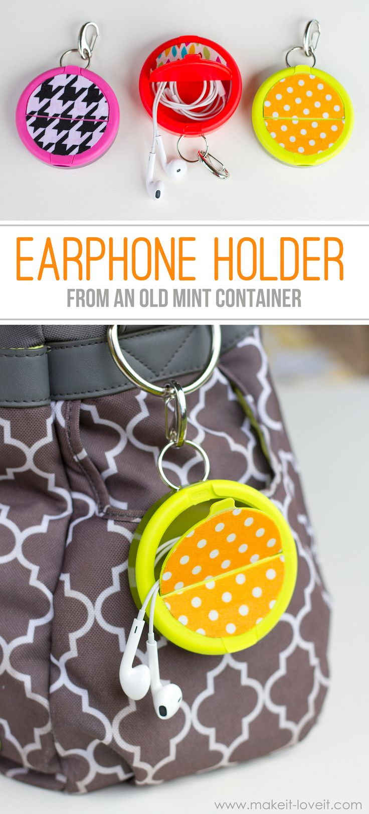 5 DIY Earphone Holder from a Mint Container for Music Lover