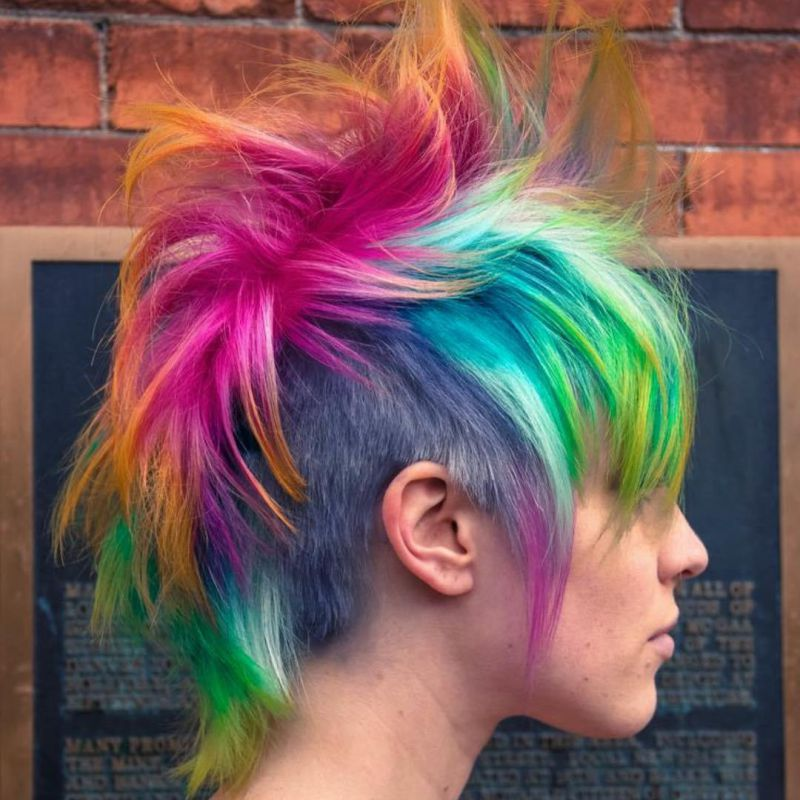 6 multicolored funky mohawk