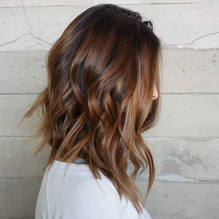 6 wavy brown balayage lob